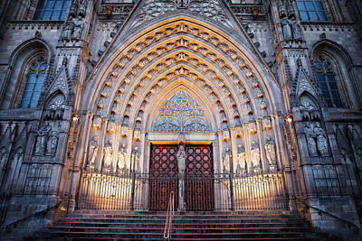 Entrance To The Barcelona Cathedral At Night Poster by Artur Bogacki