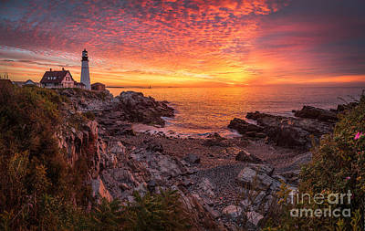 Epic Sunrise At Portland Head Light Poster by Benjamin Williamson