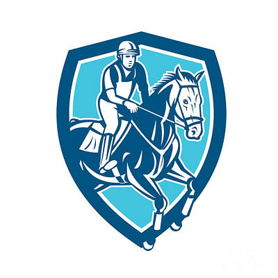 Equestrian Show Jumping Shield Retro Poster by Aloysius Patrimonio