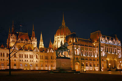 Equestrian Statue And Hungarian Parliament Poster by Joan Carroll