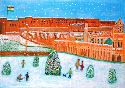 Poster featuring the painting Erbil Citadel Christmas  by Magdalena Frohnsdorff