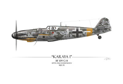 Erich Hartmann Messerschmitt Bf-109 - White Background Poster by Craig Tinder