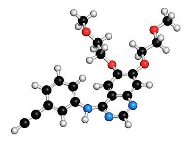 Erlotinib Cancer Drug Molecule Poster by Molekuul