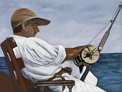 Ernest Hemingway Fishing Poster