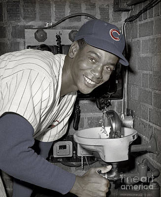 Ernie Banks At Cubs Water Fountain Poster by Martin Konopacki Restoration