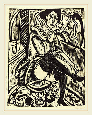 Ernst Ludwig Kirchner, Woman Tying Her Shoe Frau Poster by Litz Collection