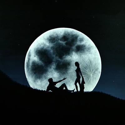 Eros Under A Full Moon Rising Poster