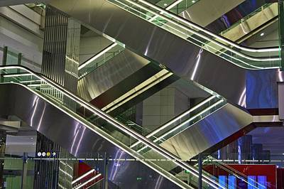 Escalators At Dubai Airport Poster by Mark Williamson