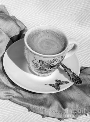 Espresso In Butterfly Cup In Black And White Poster by Iris Richardson