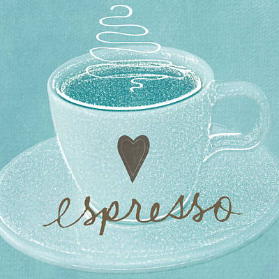Espresso Love In Light Blue Poster by Linda Woods