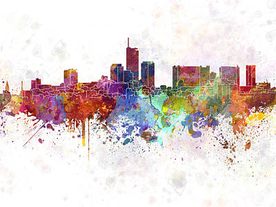 Essen Skyline In Watercolor Background Poster