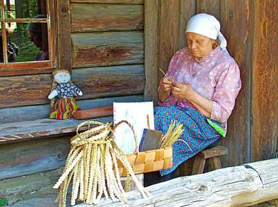 Estonian Peasant Knitting In Rocca Al Mare Open Air Museum-estonia Poster by Ruth Hager