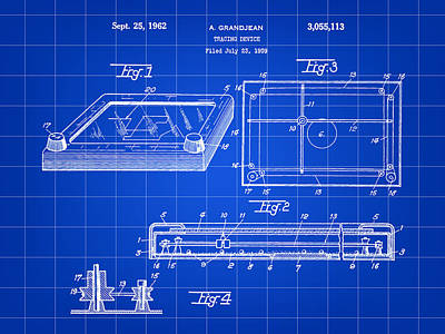 Etch A Sketch Patent 1959 - Blue Poster by Stephen Younts