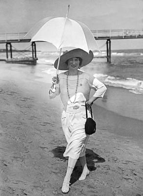 Ethel Levey On The Beach Poster by Underwood Archives