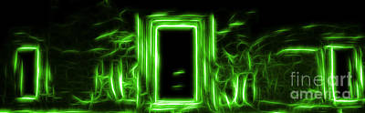 Ethereal Doorways Green Poster