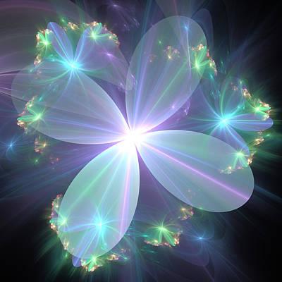 Poster featuring the digital art Ethereal Flower In Blue by Svetlana Nikolova