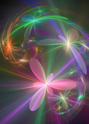 Poster featuring the digital art Ethereal Flowers Dancing by Svetlana Nikolova