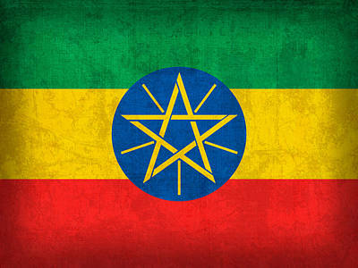 Ethiopia Flag Vintage Distressed Finish Poster by Design Turnpike