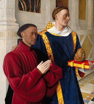 Etienne Chevalier With St Stephen Poster by Jean Fouquet
