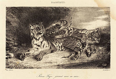 Eugène Delacroix French, 1798 - 1863, Young Tiger Playing Poster by Quint Lox