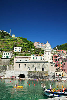 Europe Italy Vernazza City And Church Poster