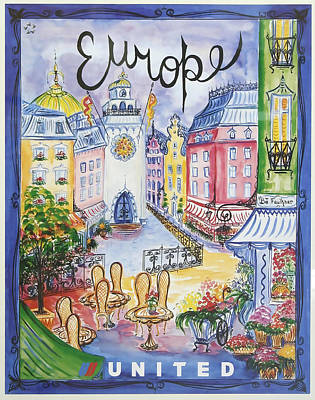 Europe United Airlines Poster
