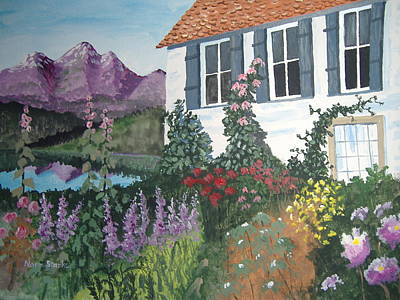 Poster featuring the painting European Flower Garden by Norm Starks