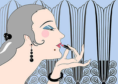 Eve In Blue And Gray Poster by Nancy Lorene
