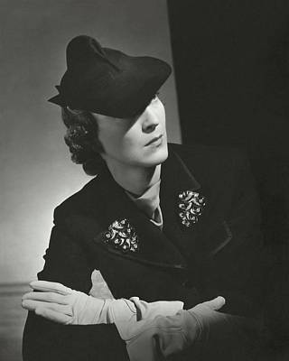Evelyne Greig Modeling A Military Hat Poster