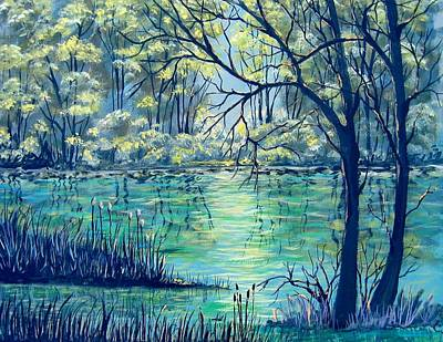 Poster featuring the painting Evening At The Bayou by Suzanne Theis