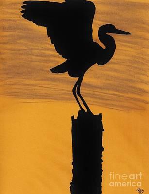 Evening - Egret Poster by D Hackett