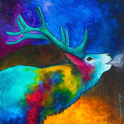 Poster featuring the painting Evening Elk by Dede Koll