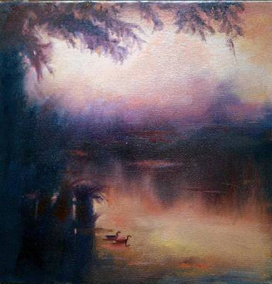 Poster featuring the painting Evening Light by Rosemarie Hakim
