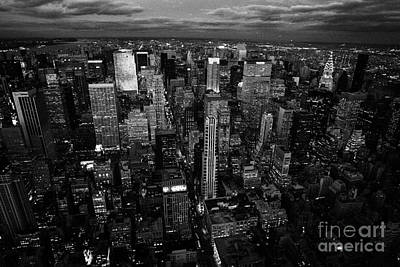 Evening Night View Of North East Manhattan  New York City Skyline Night Poster by Joe Fox