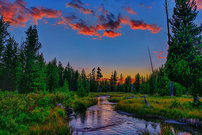 Evening On Lucky Dog Creek Poster by Greg Norrell