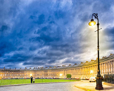 Evening On The Royal Crescent In Bath Poster by Mark E Tisdale