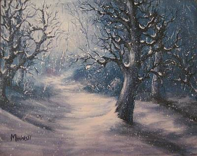 Poster featuring the painting Evening Snow by Megan Walsh