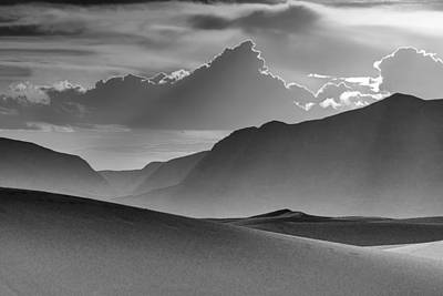 Evening Stillness - White Sands - Black And White Poster