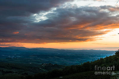 Evening View Of The Tuscan Countryside Poster