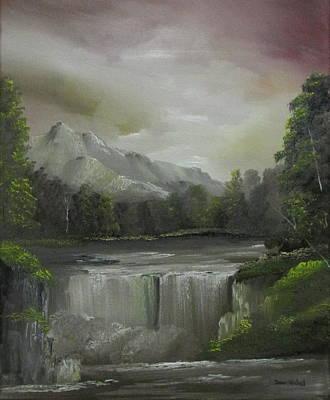 Evening Waterfalls Poster