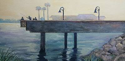 Poster featuring the painting Eventide At The Oceanside Harbor Fishing Pier by Jan Cipolla