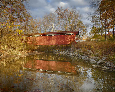 Everett Rd. Covered Bridge In Fall Poster