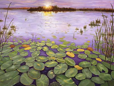 Poster featuring the painting Everglades Evening by Karen Zuk Rosenblatt