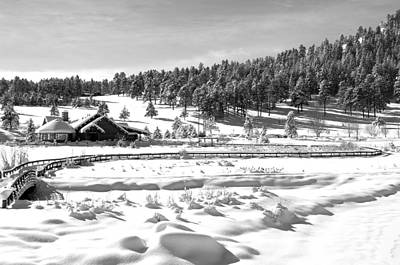 Evergreen Lake House In Winter Poster