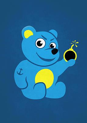 Evil Tattooed Teddy Bear Poster