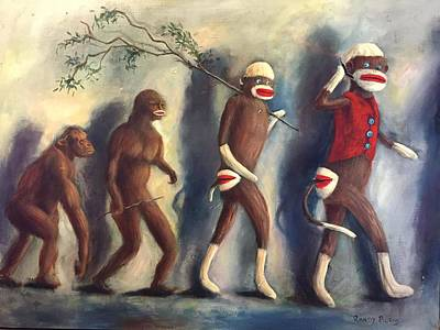 Poster featuring the painting Evolution by Randol Burns