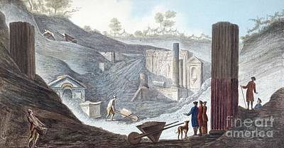 Excavating Pompeii, 18th Century Artwork Poster by British Library