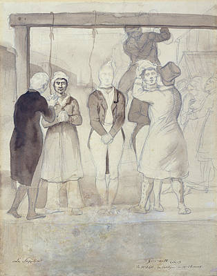 Execution In London The Punishment Wc & Pencil On Paper Poster by Theodore Gericault