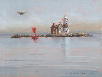 Execution Lighthouse With Fuji Blimp Poster by Marguerite Chadwick-Juner