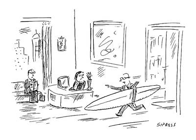 Executive Running From His Office With Surfboard Poster